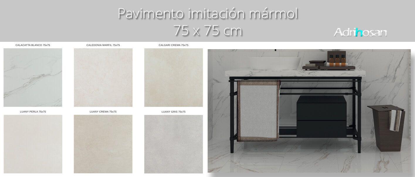 Pavimento porcelánico rectificado brillo 75x75 cm