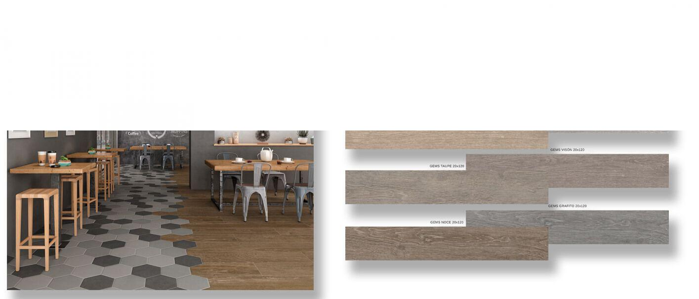 Pavimento porcelánico rectificado Gems 20x120 cm.