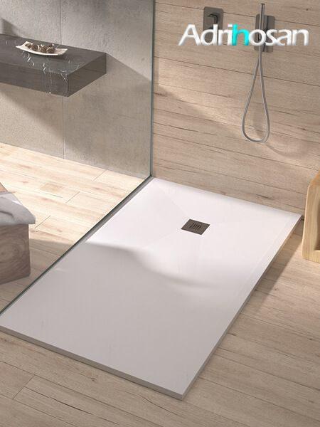 Plato de ducha de resina Gel Coat Slate 120 x 120 x 3 cm altura acabado pizarra