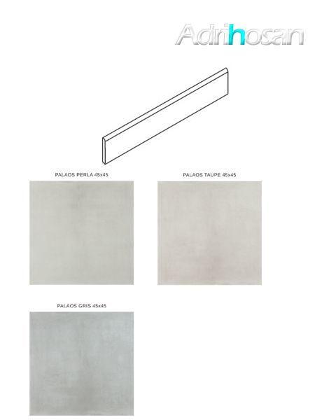 Rodapié porcelánico canto romo Barcelona 7.4x45 cm imitación cemento