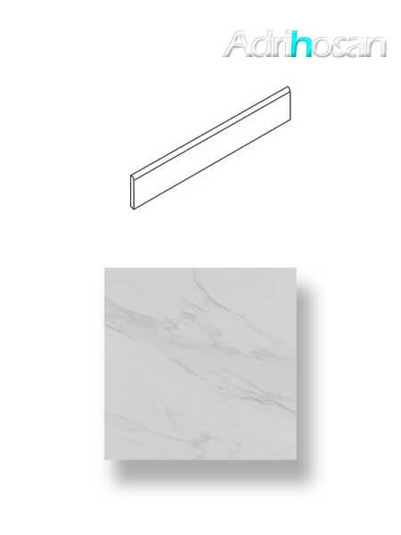 Rodapié porcelánico canto romo imitación mármol 7.4x45 cm