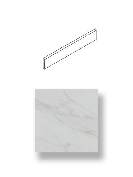 Rodapié porcelánico imitación mármol Viterbo blanco 7.4x 45 cm.