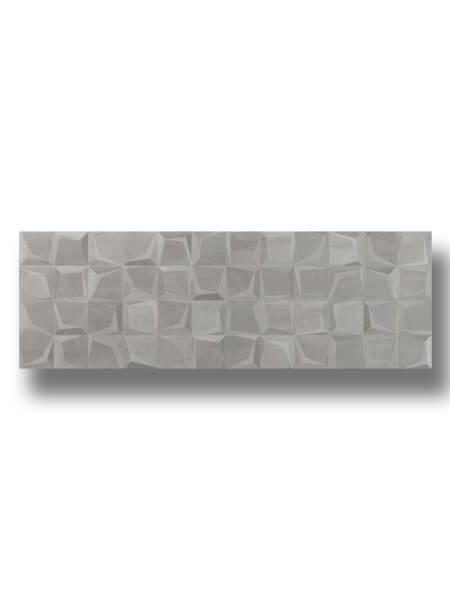 Azulejo decorado pasta blanca rectificado Tulle gris mate 30x90 cm.