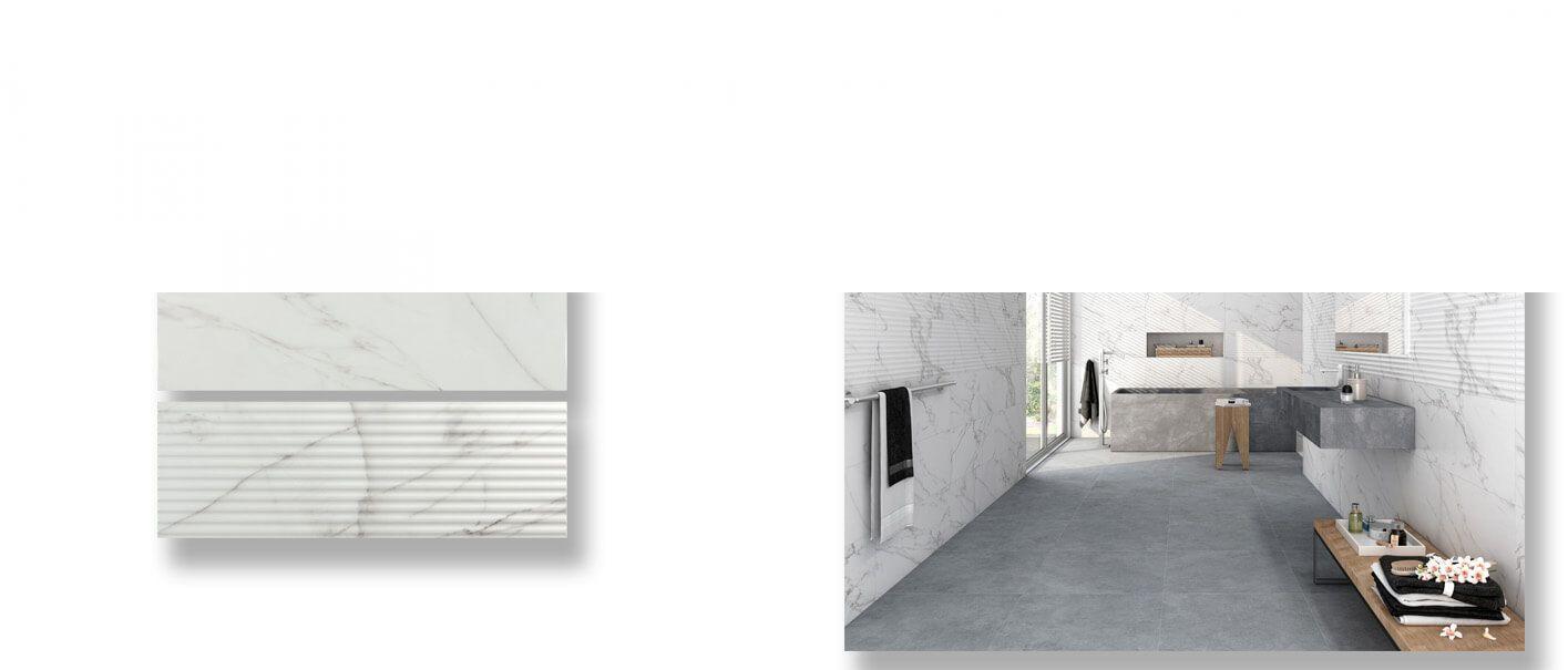 Azulejo pasta blanca rectificado calacatta mate 30x90 cm.
