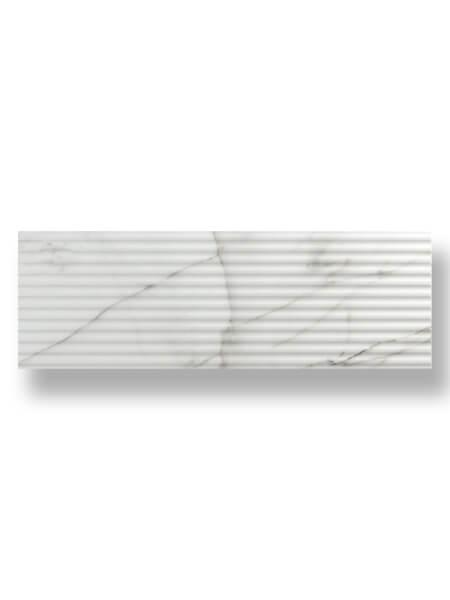 Azulejo decorado pasta blanca rectificado calacatta mate 30x90 cm.