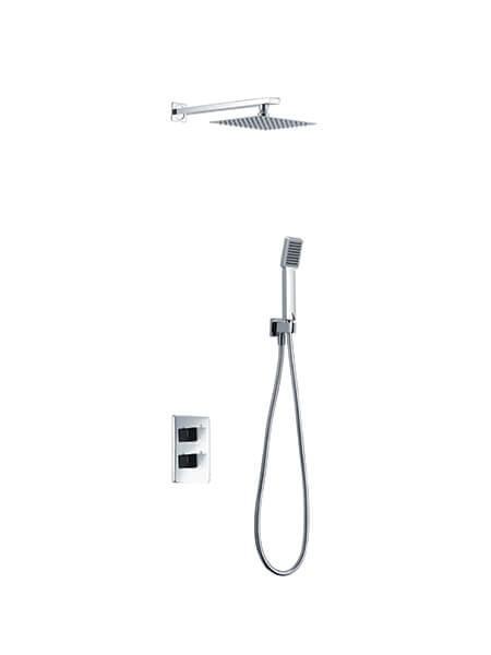 Conjunto de ducha termostático con rociador cuadrado Sun.