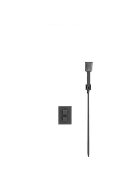 Conjunto de ducha termostático con rociador cuadrado Sun negro.
