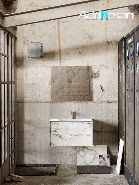 Mueble de baño Vica 80 cm porcelánico Calacatta mat con 2 cajones, lavabo de Solid surface seno centrado con 1 orificio(s) para el grifo.