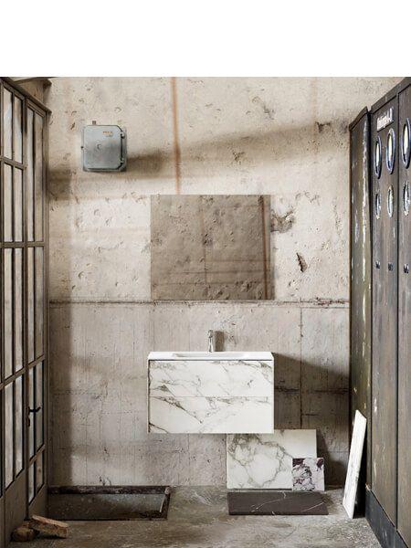 Mueble de baño Vica 80 cm porcelánico Calacatta mat