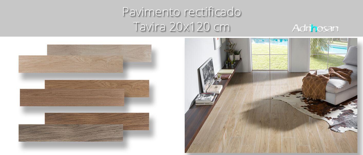 Pavimento porcelánico rectificado Tavira Perla 20x120 cm.