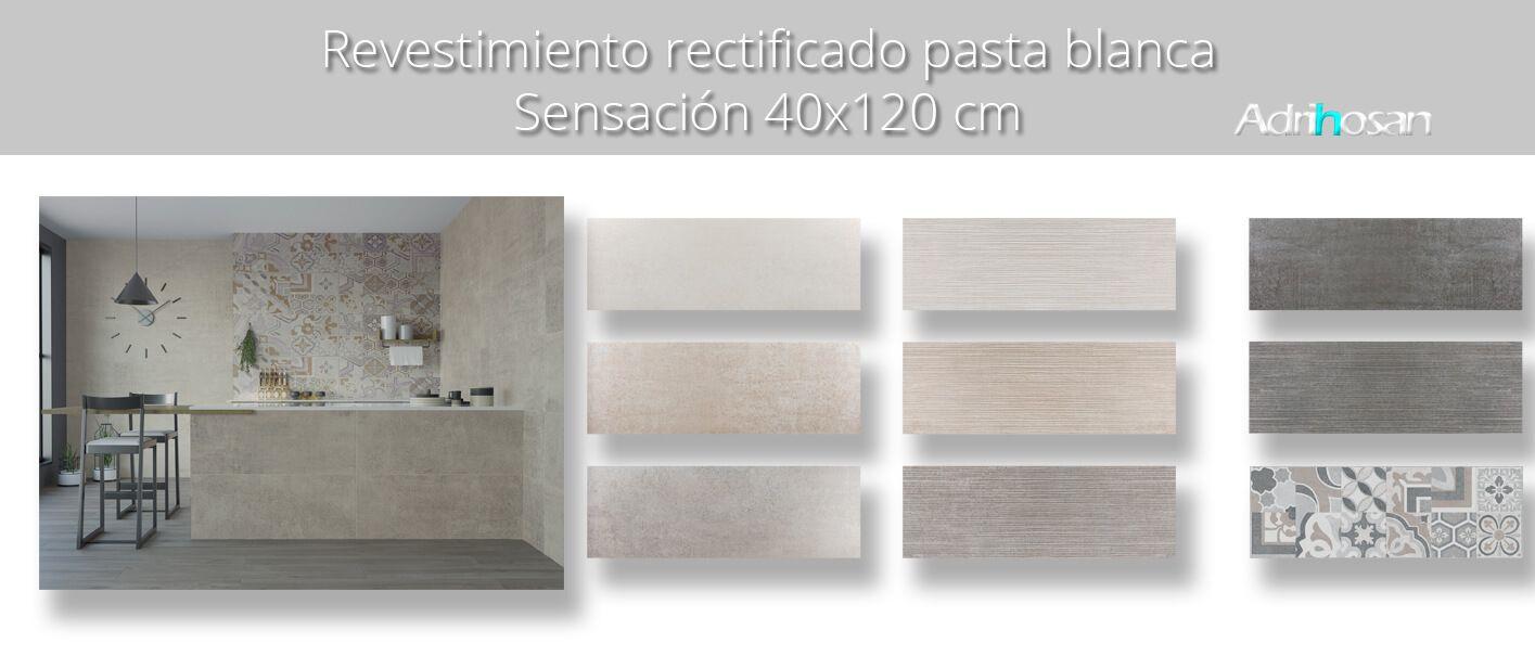 Revestimiento pasta blanca rectificado Sensación mate 40x120 cm.