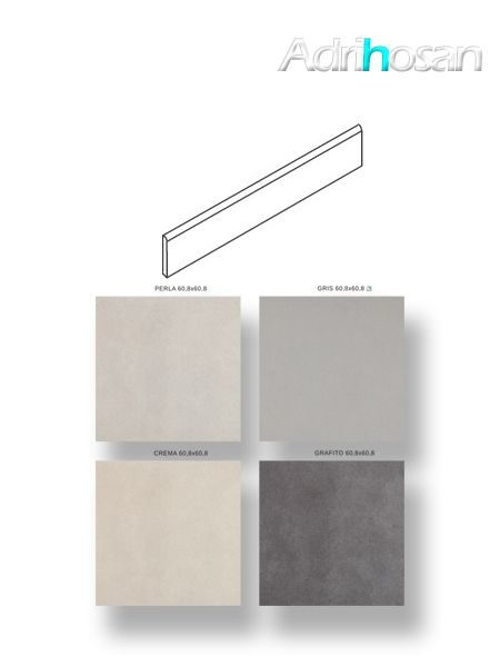 Rodapié porcelánico canto romo Zurich 9x75 cm imitación cemento