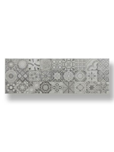 Azulejo pasta blanca rectificado hidráulico Messei marengo mate 30x90 cm.