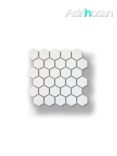 Azulejo porcelánico enmallado hexagonal blanco 27x28 cm tesela de 5 x 5.8 cm (venta por mallas)
