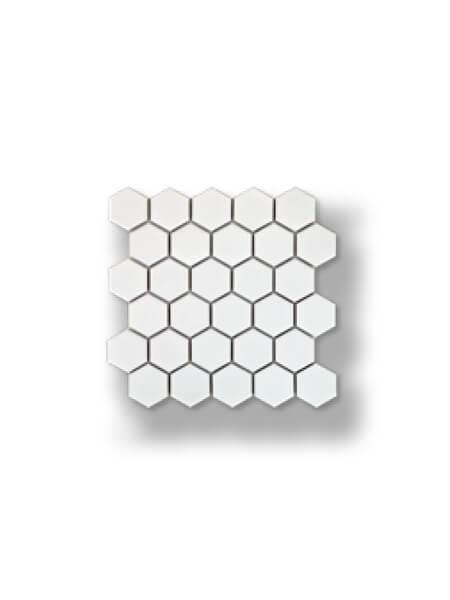 Azulejo porcelánico enmallado hexagonal blanco 30x30 cm