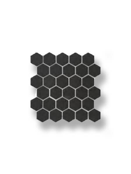 Azulejo porcelánico enmallado hexagonal negro 30x30 cm
