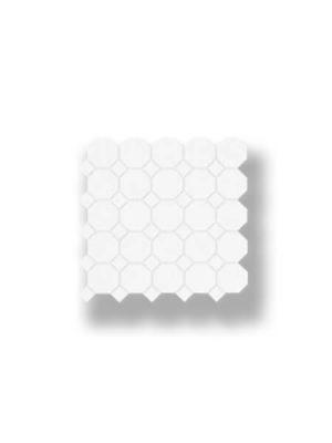 Azulejo porcelánico enmallado octógono blanco 30x30 cm