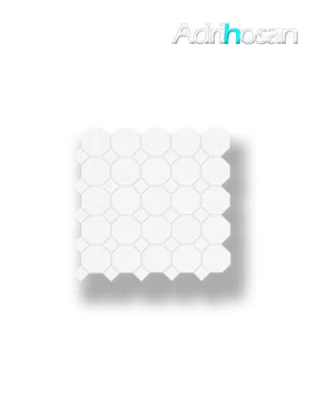 Azulejo porcelánico enmallado octógono blanco 30x30 cm tesela de 5.5 x 5.5 cm (venta por mallas)