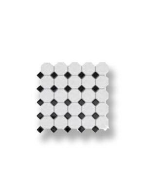 Azulejo porcelánico enmallado octógono blanco y negro 30x30 cm