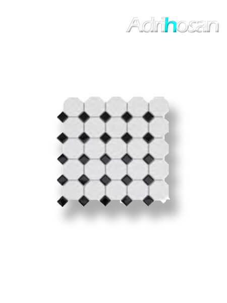 Azulejo porcelánico enmallado octógono mix negro 30x30 cm tesela de 5.5 x 5.5 cm (venta por mallas)