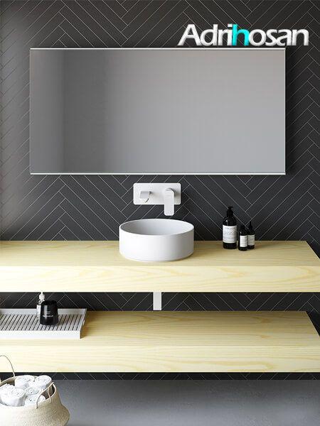 Encimeras de madera natural Elegance 241x46x12 cm para el cuarto de baño.