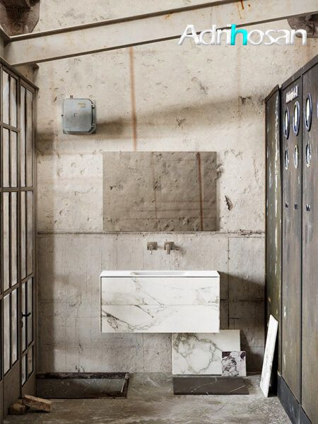 Mueble de baño Vica 100 cm porcelánico Calacatta mat con 2 cajones, lavabo de Solid surface seno centrado con 0 orificio(s) para el grifo.