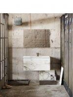 Mueble de baño Vica 100 cm porcelánico Calacatta mat con 2 cajones