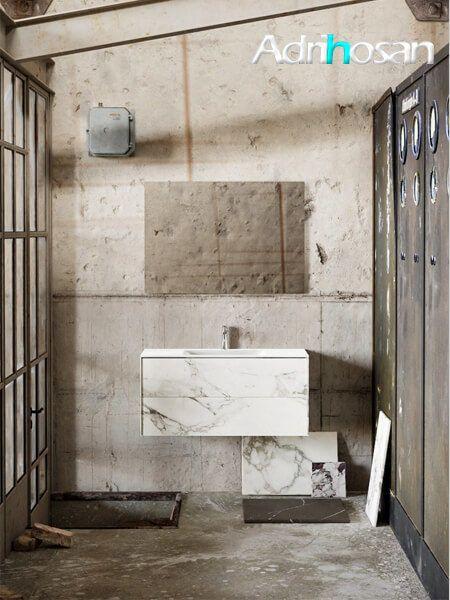 Mueble de baño Vica 100 cm porcelánico Calacatta mat con 2 cajones, lavabo de Solid surface seno centrado con 1 orificio(s) para el grifo.