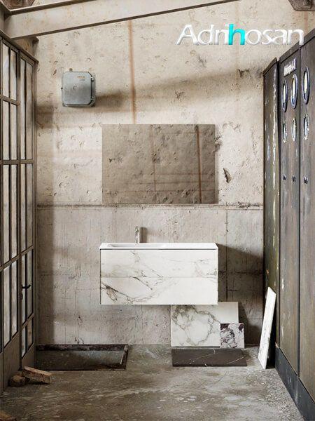 Mueble de baño Vica 100 cm porcelánico Calacatta mat con 2 cajones, lavabo de Solid surface seno izquierda con 1 orificio(s) para el grifo.