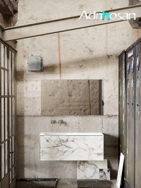 Mueble de baño Vica 120 cm porcelánico Calacatta mat con 2 cajones, lavabo de Solid surface seno izquierda con 0 orificio(s) para el grifo.