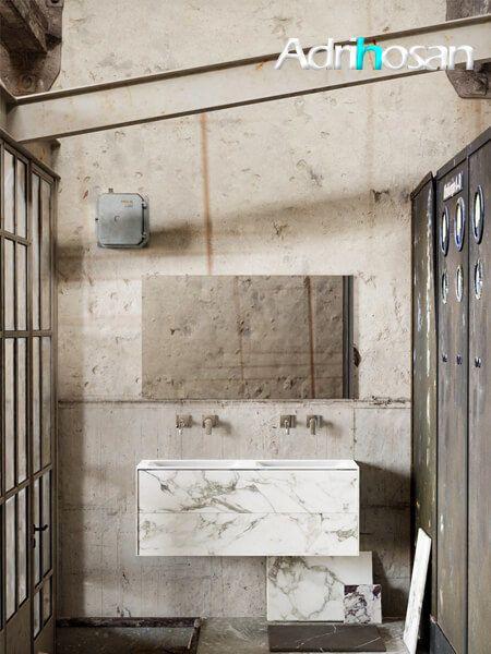 Mueble de baño Vica 120 cm porcelánico Calacatta mat con 2 cajones, lavabo de Solid surface seno doble con 0 orificio(s) para el grifo.