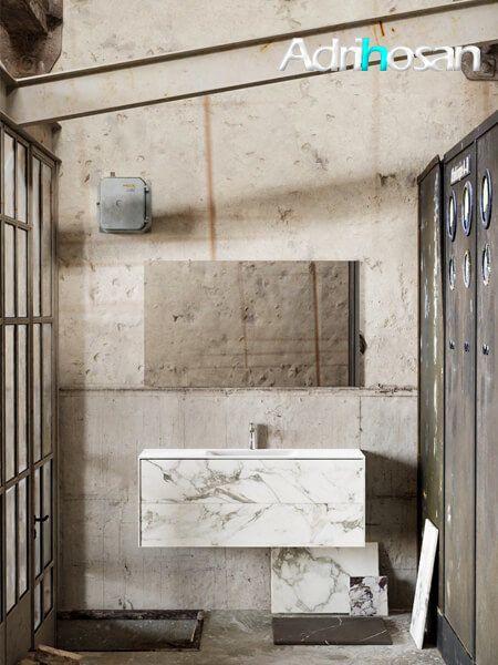 Mueble de baño Vica 120 cm porcelánico Calacatta mat con 2 cajones, lavabo de Solid surface seno centrado con 1 orificio(s) para el grifo.