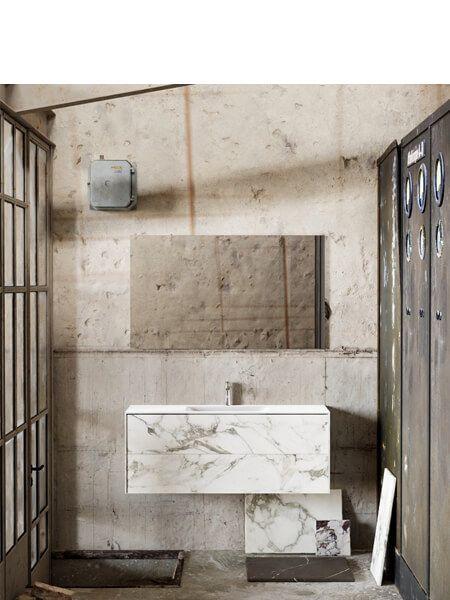 Mueble de baño Vica 120 cm porcelánico Calacatta mat