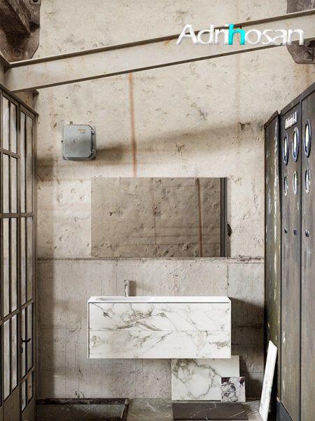 Mueble de baño Vica 120 cm porcelánico Calacatta mat con 2 cajones, lavabo de Solid surface seno izquierda con 1 orificio(s) para el grifo.