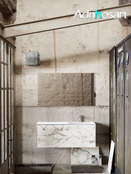 Mueble de baño Vica 120 cm porcelánico Calacatta mat con 2 cajones, lavabo de Solid surface seno derecha con 0 orificio(s) para el grifo.