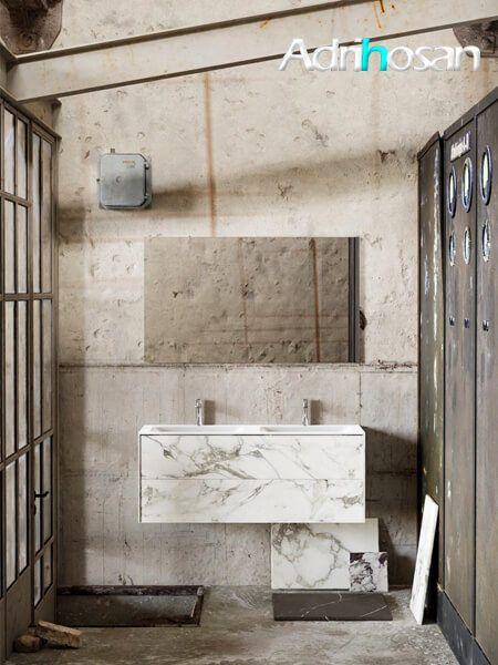 Mueble de baño Vica 120 cm porcelánico Calacatta mat con 2 cajones, lavabo de Solid surface seno doble con 2 orificio(s) para el grifo.