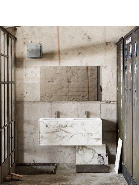 Mueble de baño Vica 120 cm porcelánico Calacatta mat seno doble