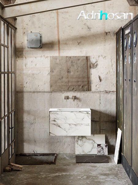 Mueble de baño Vica 80 cm porcelánico Calacatta mat con 2 cajones, lavabo de Solid surface seno centrado con 0 orificio(s) para el grifo.
