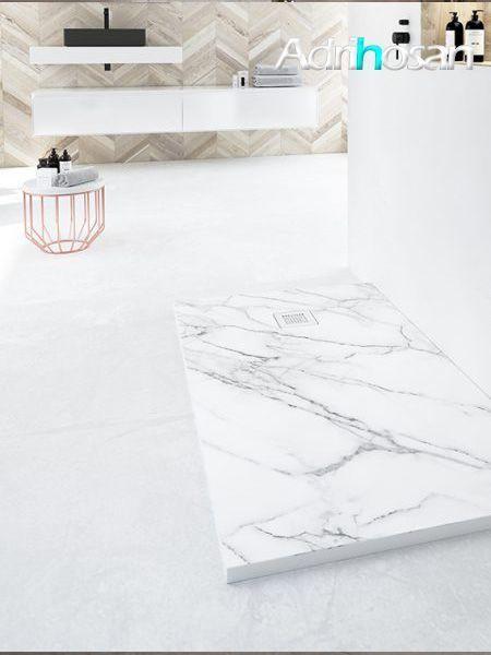 Plato de ducha de resina Gel Coat mármol Calacatta