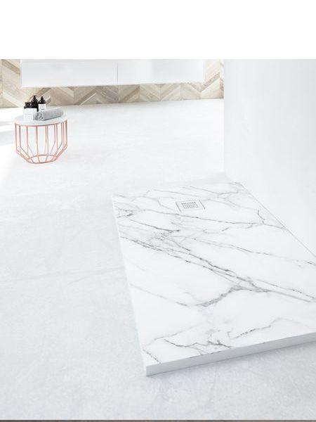 Plato de ducha de resina Gel Coat mármol Calacatta.
