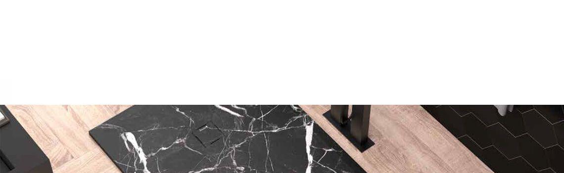 Plato de ducha de resina Gel Coat mármol Nero marquina.