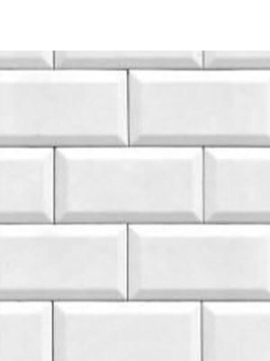 Azulejo tipo metro biselado blanco brillo 10X20 cm.