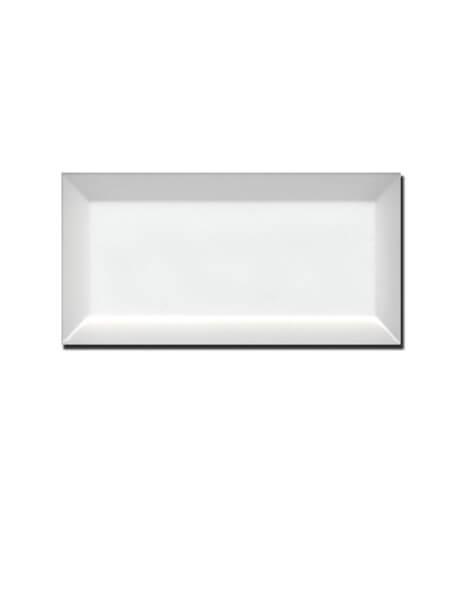 Azulejo tipo metro biselado blanco brillo 10X20 cm (1 m2/cj)
