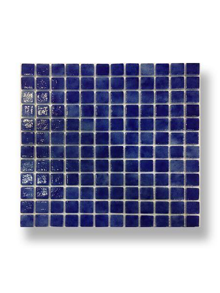 Gresite para piscinas tesela 2,5x2,5 cm malla 30x30 cm azul oscuro N1044