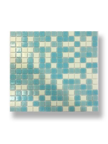 Gresite para piscinas tesela 2x2 cm malla 30x30 cm Azul blanco Artico