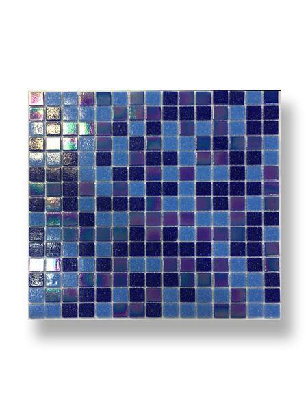 Gresite para piscinas tesela 2x2 cm malla 30x30 cm Azul mix nacar Alborán