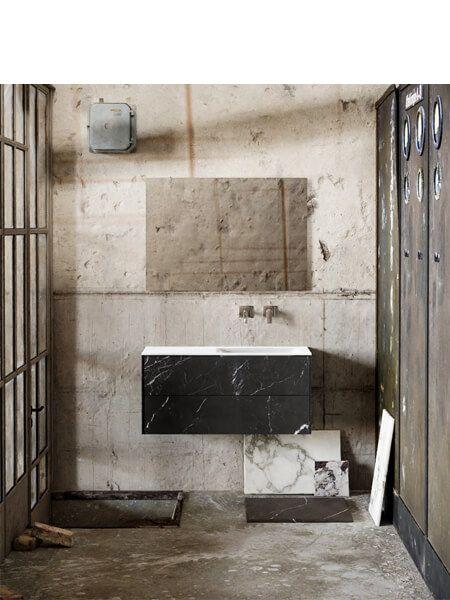 Mueble de baño Vica 100 cm porcelánico Elegant Black con 2 cajones, lavabo de Solid surface seno derecha con 0 orificio(s) para el grifo.