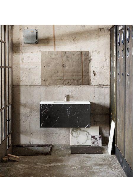 Mueble de baño Vica 100 cm porcelánico Elegant Black con 2 cajones, lavabo de Solid surface seno centrado con 1 orificio(s) para el grifo.