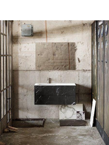 Mueble de baño Vica 100 cm porcelánico Elegant Black con 2 cajones, lavabo de Solid surface seno izquierda con 1 orificio(s) para el grifo.