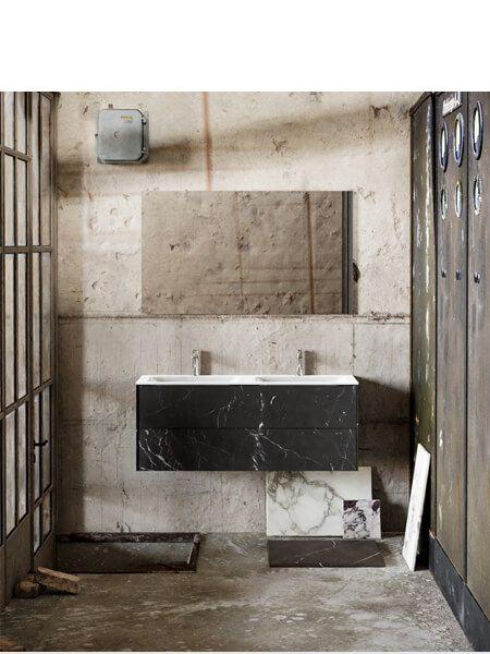 Mueble de baño Vica 120 cm porcelánico Elegant Black con 2 cajones, lavabo de Solid surface seno doble con 2 orificio(s) para el grifo.